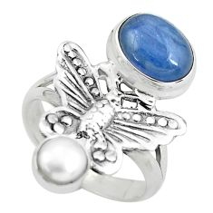 Natural blue kyanite pearl 925 silver butterfly ring jewelry size 7.5 p61111