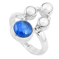 6.03cts natural blue kyanite pearl 925 sterling silver ring size 8.5 p52480