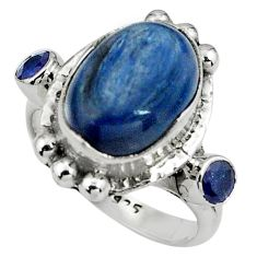 9.23cts natural blue kyanite sapphire 925 sterling silver ring size 8 p79010