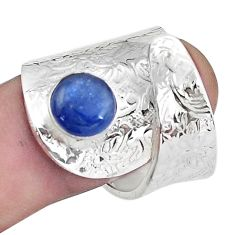 3.26cts natural blue kyanite silver solitaire adjustable ring size 8.5 p57009
