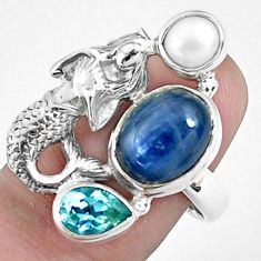7.97cts natural blue kyanite topaz 925 silver fairy mermaid ring size 8 p42652