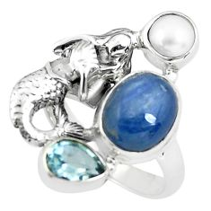 7.33cts natural blue kyanite topaz 925 silver fairy mermaid ring size 7 p61083
