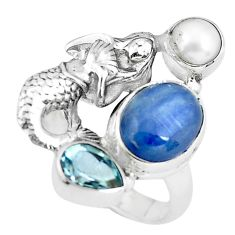 7.55cts natural blue kyanite topaz 925 silver fairy mermaid ring size 8 p61090