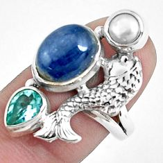 7.72cts natural blue kyanite topaz 925 sterling silver fish ring size 7.5 p42655