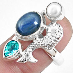 7.84cts natural blue kyanite topaz 925 sterling silver fish ring size 8.5 p42658