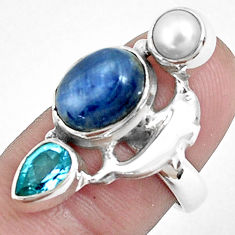 7.78cts natural blue kyanite topaz pearl 925 silver dolphin ring size 7 p42651