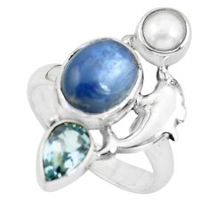 6.63cts natural blue kyanite topaz pearl 925 silver dolphin ring size 8.5 p61088