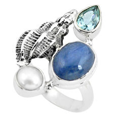 7.62cts natural blue kyanite topaz pearl 925 sterling silver ring size 9 p61087