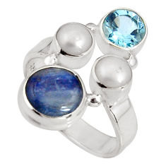 6.02cts natural blue kyanite topaz pearl 925 sterling silver ring size 7 p90825
