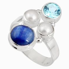 6.31cts natural blue kyanite topaz pearl 925 sterling silver ring size 8 p90828
