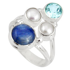 6.30cts natural blue kyanite topaz pearl 925 sterling silver ring size 7 p90829