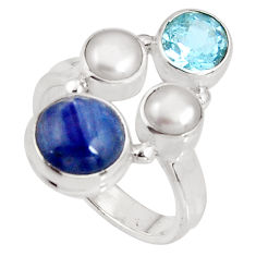 6.30cts natural blue kyanite topaz pearl sterling silver ring size 6.5 p90826