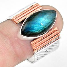 8.07cts natural blue labradorite 925 silver gold solitaire ring size 9.5 p81015