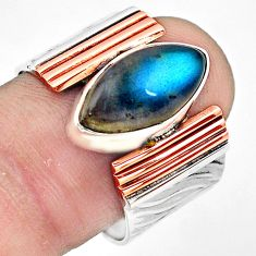 6.76cts natural blue labradorite 925 silver gold solitaire ring size 8.5 p81017