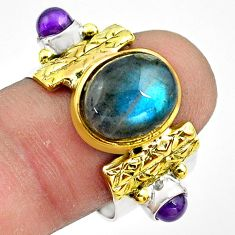 6.89cts natural blue labradorite 925 silver gold solitaire ring size 8.5 p81138
