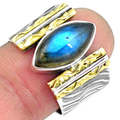 6.72cts natural blue labradorite 925 silver gold solitaire ring size 8 p87929