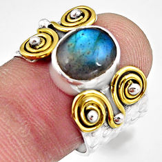 4.47cts natural blue labradorite 925 silver gold solitaire ring size 7.5 p91155