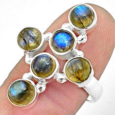 5.72cts natural blue labradorite 925 silver holy cross ring size 7.5 p77675
