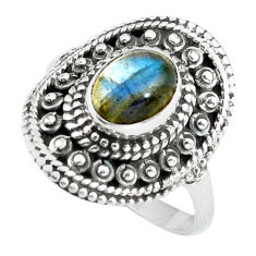 Clearance Sale- 2.22cts natural blue labradorite 925 silver solitaire ring jewelry size 7 d32046