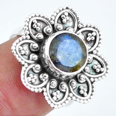 3.01cts natural blue labradorite 925 silver solitaire ring jewelry size 7 d32058