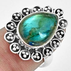 7.04cts natural blue labradorite 925 silver solitaire ring jewelry size 7 p32867