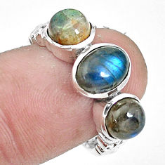 4.38cts natural blue labradorite 925 silver solitaire ring jewelry size 7 p36097