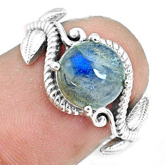 3.19cts natural blue labradorite 925 silver solitaire ring jewelry size 6 p36176