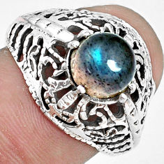 2.56cts natural blue labradorite 925 silver solitaire ring jewelry size 7 p36258