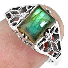 2.72cts natural blue labradorite 925 silver solitaire ring jewelry size 7 p36260