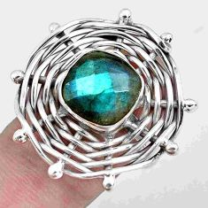 6.18cts natural blue labradorite 925 silver solitaire ring jewelry size 9 p48395