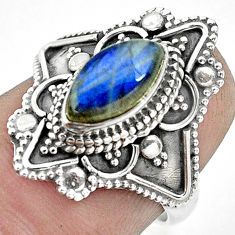 2.72cts natural blue labradorite 925 silver solitaire ring jewelry size 6 p53094