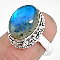 6.69cts natural blue labradorite 925 silver solitaire ring jewelry size 7 p56690