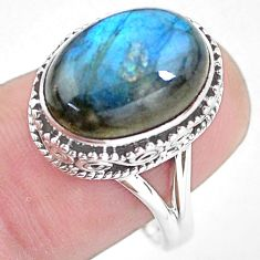 6.76cts natural blue labradorite 925 silver solitaire ring jewelry size 8 p56739