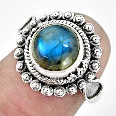 4.92cts natural blue labradorite 925 silver solitaire ring jewelry size 6 p57663