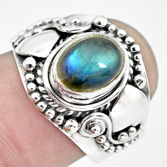 3.01cts natural blue labradorite 925 silver solitaire ring jewelry size 8 p57690