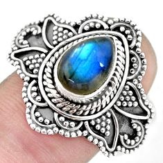 2.68cts natural blue labradorite 925 silver solitaire ring jewelry size 9 p57708