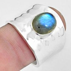 4.02cts natural blue labradorite 925 silver solitaire ring jewelry size 8 p61406