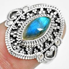 2.55cts natural blue labradorite 925 silver solitaire ring jewelry size 7 p61615