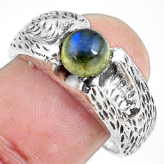 1.25cts natural blue labradorite 925 silver solitaire ring jewelry size 9 p61918