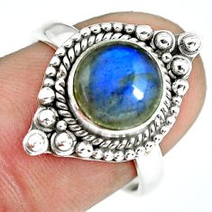 3.47cts natural blue labradorite 925 silver solitaire ring jewelry size 7 p64288