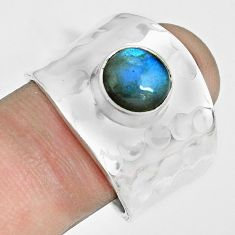 3.29cts natural blue labradorite 925 silver solitaire ring jewelry size 9 p70111