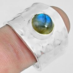 3.29cts natural blue labradorite 925 silver solitaire ring jewelry size 9 p70114