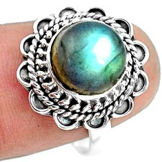 4.69cts natural blue labradorite 925 silver solitaire ring jewelry size 8 p72321