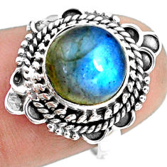 4.90cts natural blue labradorite 925 silver solitaire ring jewelry size 7 p72325