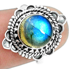 4.42cts natural blue labradorite 925 silver solitaire ring jewelry size 7 p72329
