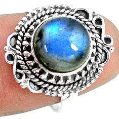 4.69cts natural blue labradorite 925 silver solitaire ring jewelry size 7 p72351