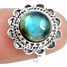 4.67cts natural blue labradorite 925 silver solitaire ring jewelry size 7 p72358