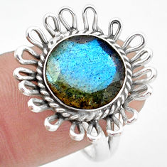 5.38cts natural blue labradorite 925 silver solitaire ring jewelry size 8 p74251
