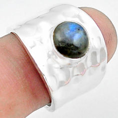 3.53cts natural blue labradorite 925 silver solitaire ring jewelry size 7 p74854