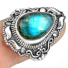 6.62cts natural blue labradorite 925 silver solitaire ring jewelry size 8 p77282